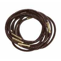 Резинки для волос с серебряной нитью, коричневые, мини (10 шт.) DEWAL RE013