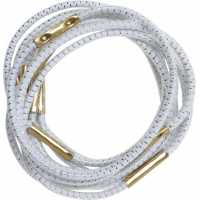 Резинки для волос с серебряной нитью, белые, миди (10 шт.) DEWAL RE014